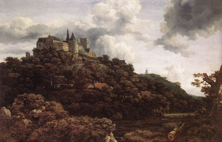 Gezicht op kasteel Bentheim - Jacob van Ruisdael, 1653 (National Gallery of Ireland, Dublin)