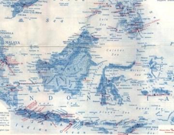 Kaart met de Jappenkampen in Nederlands-Indië (detail)