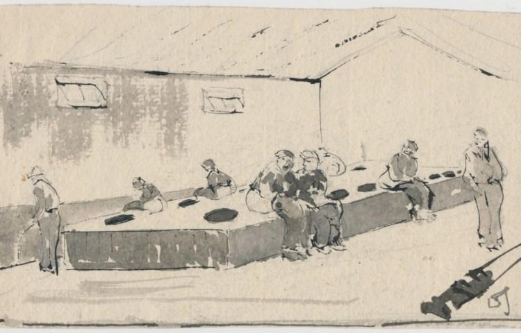 Een van de tekeningen van David Schulman (Westerbork)