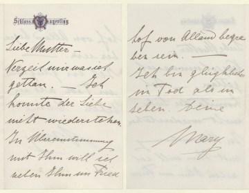 Afscheidsbrief die Marie aan haar moeder richtte (ÖNB)