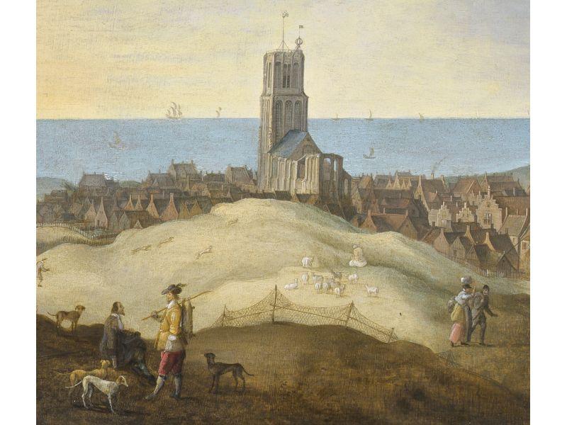 Gezicht op Egmond aan Zee (detail), na 1635, olieverf op paneel
