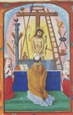 Afbeelding van de Gregoriusmis (uitbeelding van de transsubstantiatie); getijdenboek 1500-1525