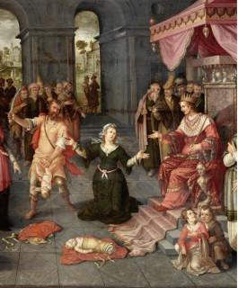 Het oordeel van Salomo (detail), 1616, olieverf op paneel