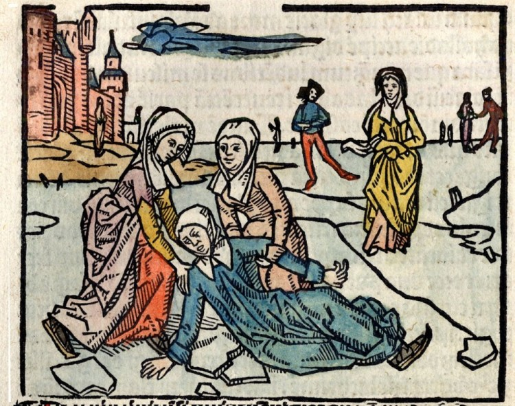 Liduina's val in Johannes Brugman heiligenleven over Liduina