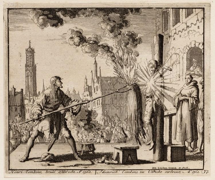 Verbranding van wederdoper Hendrik Eemkens in Utrecht, 1562. Prent door Jan Luyken, 1685