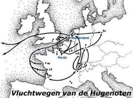 Vluchtwegen van de Hugenoten (http://hugenoten.emjee.nl/oorsprong.htm)