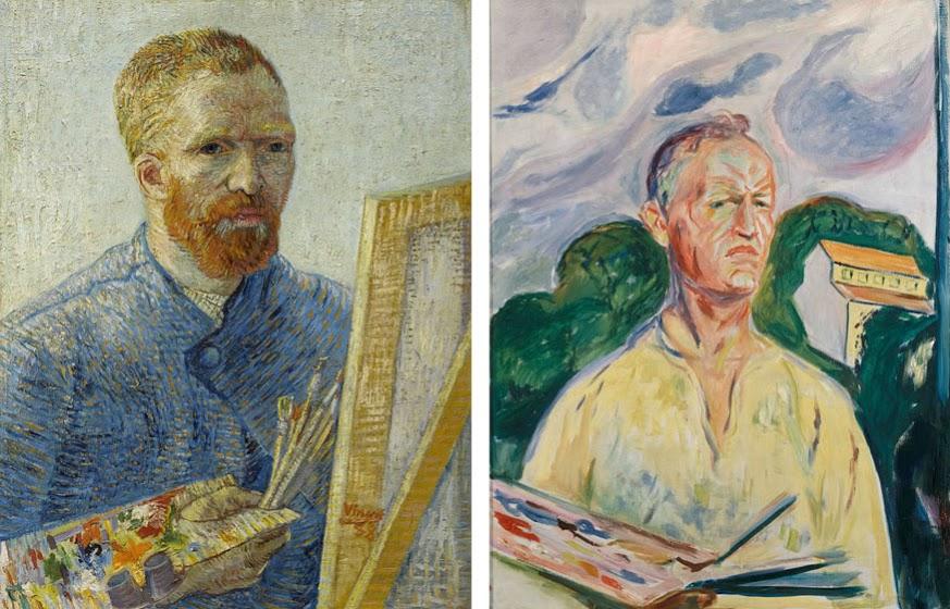 Links: Vincent van Gogh, Zelfportret als schilder, 1887-1888. Van Gogh Museum, Amsterdam. (Vincent van Gogh Stichting). Rechts: Edvard Munch, Zelfportret met palet, 1926. Privécollectie