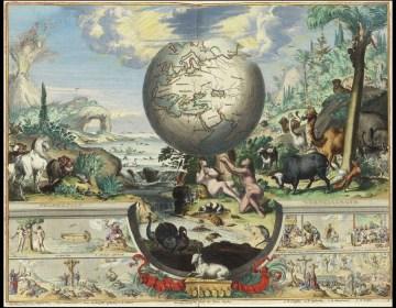 Het aards paradijs, prent ingekleurd door Dirk Jansz van Santen ca. 1697, in Biblia. Dat is de gantsche H. Schrifture, Dordrecht 1682.