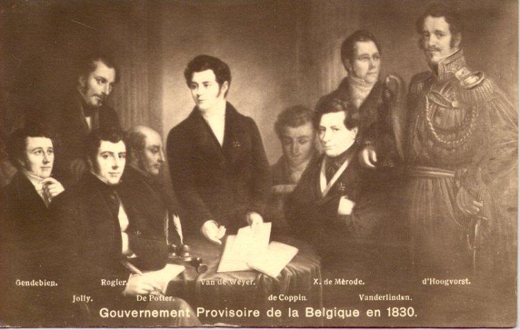 Het Voorlopig Bewind van België: v.l.n.r. Gendebien, Jolly, Rogier, De Potter, Van de Weyer, de Coppin, de Mérode, Van der Linden, van der Linden d'Hooghvorst.