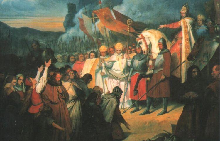 Karel de Grote's leger na een overwinning bij Paderborn in 785. Door Ary Scheffer (1795-1858), Paleis Versailles. Bron: Wikipedia