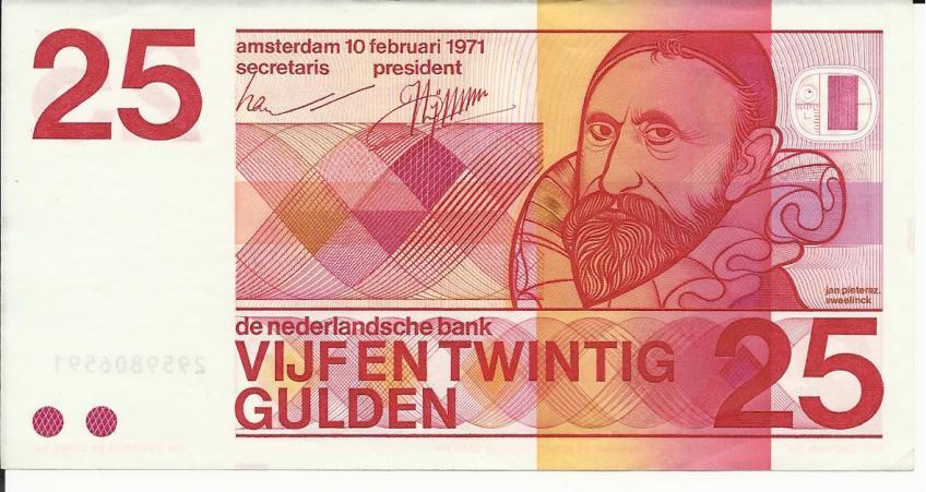 Bankbiljet van 25 gulden met Jan Pieterszoon Sweelinck (Munten Kabinet)