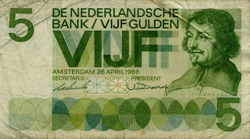 Voorloper van bovenstaande bankbiljet met eveneens een afbeelding van Vondel (Banknoteworld.it)