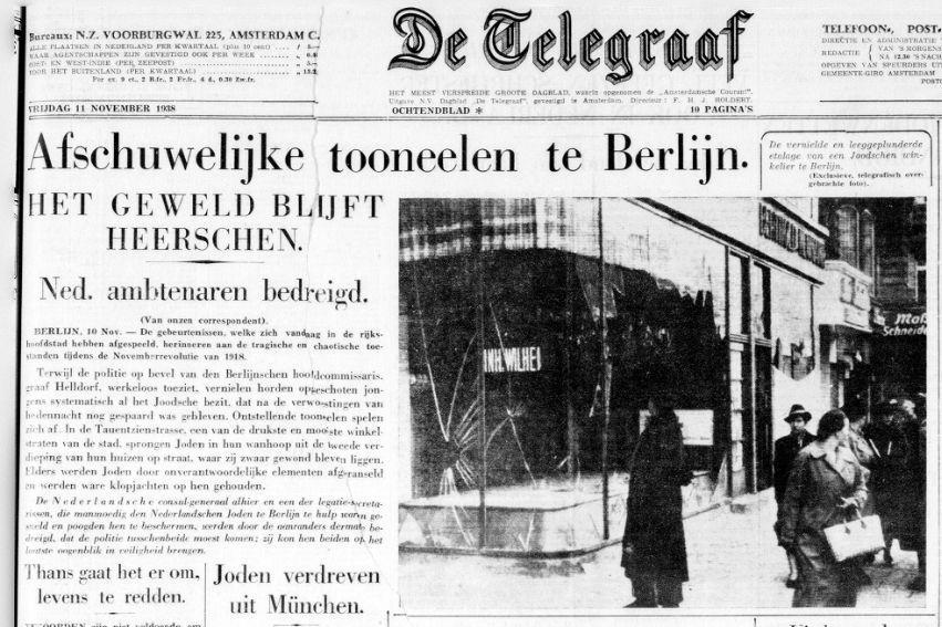 De Telegraaf over de Kristallnacht, 11 november 1938  (Delpher)