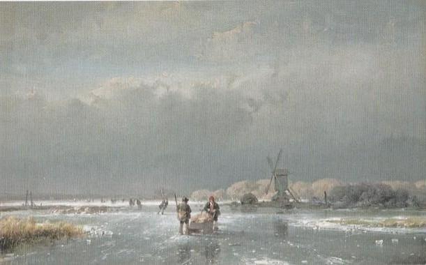 IJsgezicht met standerdmolen (1856) van Andreas Schelfhiout. Het boek toont dezelfde plaats, vanuit een iets ander perspectief, uitgebeeld met zwart krijt, penseel in grijze en diverse tinten bruine inkt.