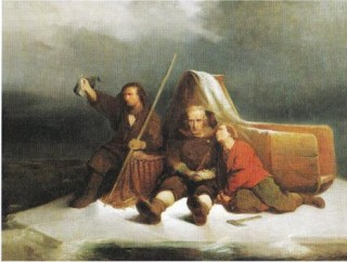 Visser Klaas Bording van Durgerdam met zijn twee zoons op de ijsschots waarop ze twaalf dagen over de Zuiderzee dreven. Alleen de jongste zoon overleefde het avontuur.. Abraham van Pelt (1815-1895)