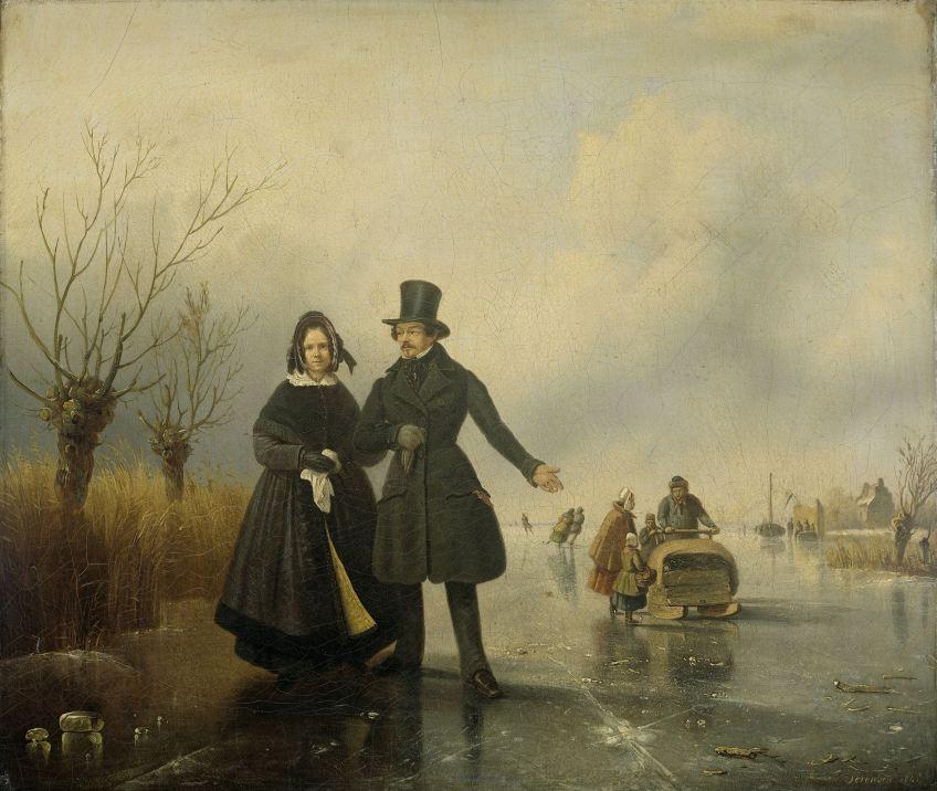 De heer en mevrouw Thijssen, op het ijs vereeuwigd in olieverf door Jacobus Loerenz Sórensen (1845)