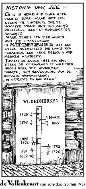 Tekening door (wijlen) Jan Bouman in de Volkskrant. Let op de jaartallen. Veel stormvloeden lijken wat hoger te stijgen dan hun voorgangers.