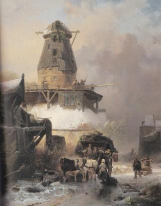 'De oude molen in de winter' (1838). Schilderij van Wijnand Nuijen, leerling van Andreas Schelfhout, die een verhuiswagen op een bevroren sloot laat zien bij een molen die zal worden afgebroken; de 'onttakeling'zou door Schelfhout nooit zo worden afgebeeld.