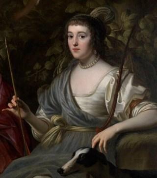 Amalia van Solms als de jachtgodin Diana (Detail van het werk)