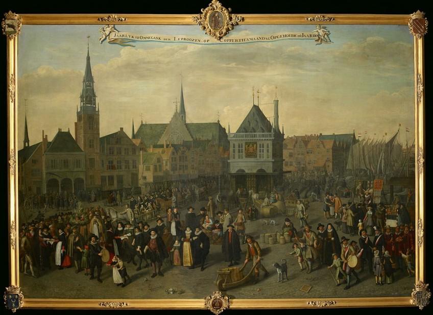 Adriaen van Nieulandt, De Dam in 1604 tijdens de laatste Leprozenommegang op Koppertjesmaandag, 1633