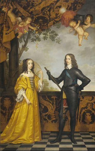 Stadhouder Willem II met zijn vrouw Maria Stuart door Gerard van Honthorst