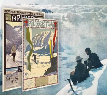 Affiches Gustav Jahn en Otto Bart en schilderij otto Barth, ca. 1905