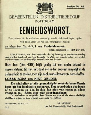 Aankondiging eenheidsworst op bon, Rotterdam 1918. (timerime.com)