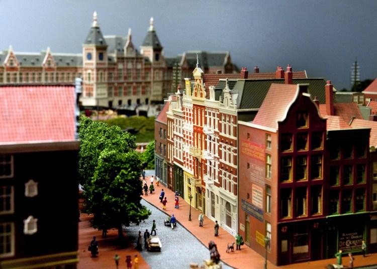 Modelbaan Amsterdam CS 1889 - Doorkijk naar het station (Spoorwegmuseum)