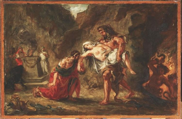 Herakles (Hercules) brengt de koningin terug naar koning Admetos - Eugene Delacroix