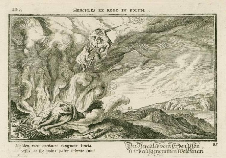 Herakles (Hercules) wordt opgehaald door oppergod Zeus