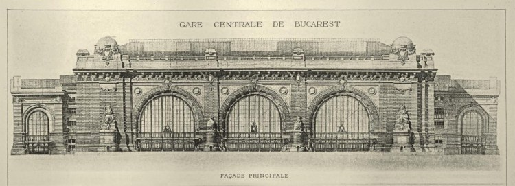 Ontwerp voorgevel Boekarest Centraal door Alexandre Marcel, 1894