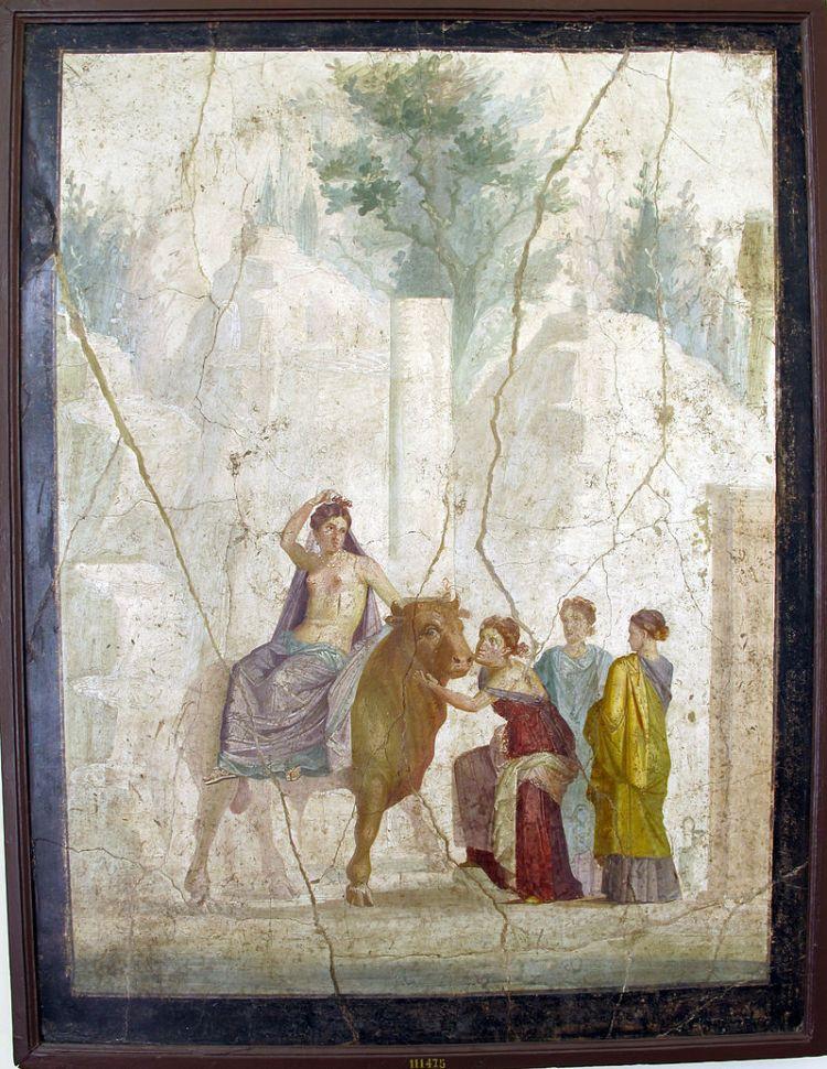 Oud Romeins fresco in het Museo Archeologico in Napels