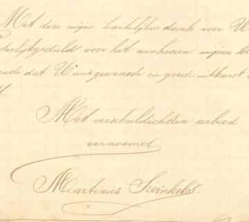 Slot van de lange klachtbrief van Swinkels. Onthou vooral zijn handschrift...