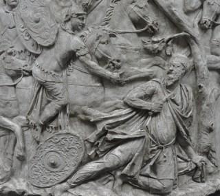 De zelfmoord van Decebalus (Zuil van Trajanus)