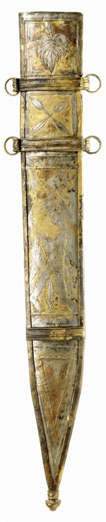 In de Bijlandse Waard zijn honderden vondsten gedaan, waaronder deze verzilverde zwaardschede. - © Rijksmuseum van Oudheden, Leiden