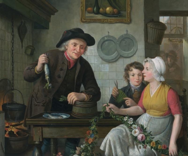 Voorbereidingen van een haringverkoper; schilderij van Adriaan de Lelie op omslag promotie-onderzoek Bo Poulsen (Coll. Visserijmuseum)
