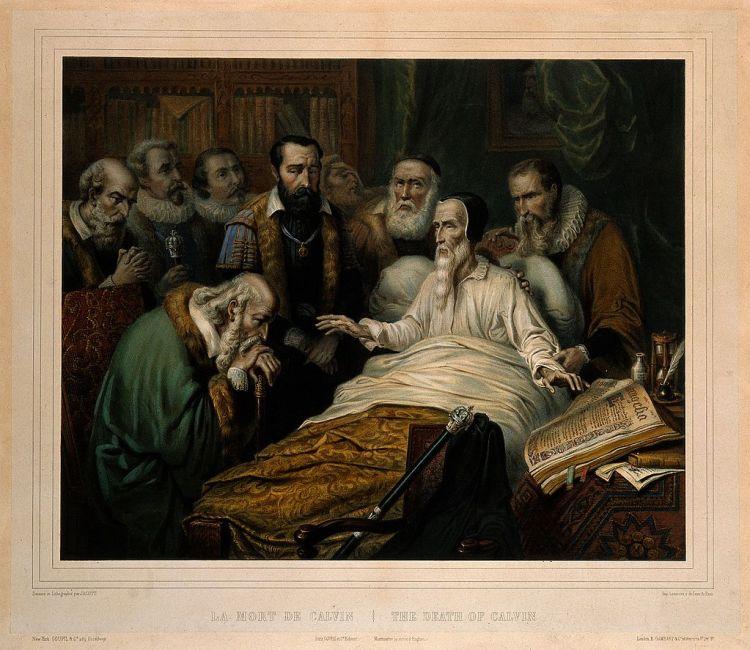Johannes Calvijn op zijn sterfbed (W.L. Walton, ca. 1865)