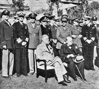 Roosevelt en Churchill tijdens de conferentie van Casablanca