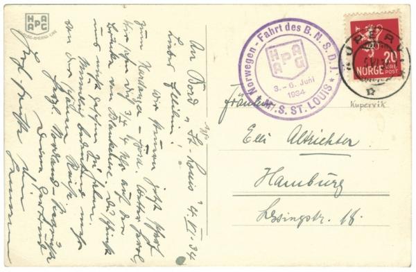 Ansichtkaart verstuurd vanaf het schip de St. Louis, afgestempeld op 6 juni 1934 in Kopervik, Noorwegen. Het stempel vermeldt Norwegen-Fahrt des B.N.S.D.J. (Bund National-Sozialistischer Deutscher Jugend).