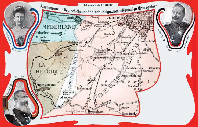 Ansichtkaart van het Vierlandenpunt met de omringende vorsten van Moresnet: koningin Wilhelmina van Nederland, de Belgische koning Leopold II en de Duitse keizer Wilhelm II. De burgemeester van Kelmis kreeg geen plaats op de kaart.