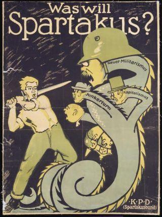 Propagandaposter Spartakus Bund 1919. Bron: Deutsches Historisches Museum