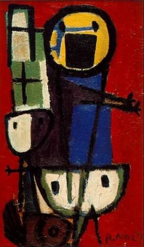 """Karel Appel, """"Vragende kinderen"""" (1949). Bron: boek / cc Amsterdam Museum (in bruikleen van Stedelijk Museum Amsterdam)."""