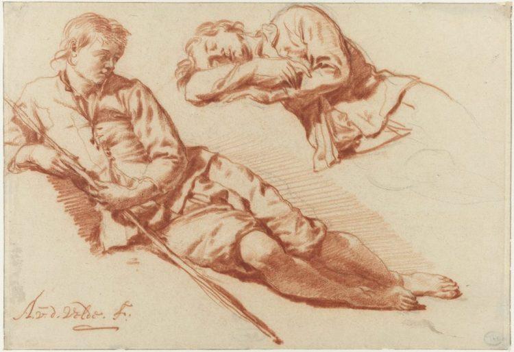 Twee studies van een liggende herder, Adriaen van de Velde, 1666 - 1671. Collectie Rijksmuseum