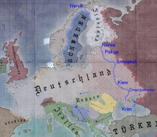 Kaart van 'Duitsland' na de verloren Slag om Stalingrad begin 1944. De stippellijn geeft de intussen al verloren posities weer. DeKrim is nog in Duitse handen.