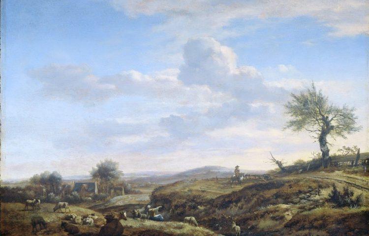 Heuvelachtig landschap met hoge weg, Adriaen van de Velde, 1660 - 1672. Collectie Rijksmuseum