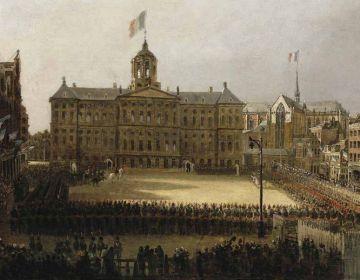 Intocht van Napoleon in Amsterdam. Schilderij van Mattheus Ignatius van Bree,1812-1813. Amsterdam Museum