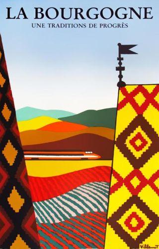 Affiche Bourgogne, traditie en vooruitgang, 1984   Bernard Villemot (privécollectie)