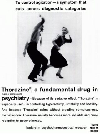Min of meer misleidende reclame voor Thorazine (Largactil) omstreeks 1960. (Bron: www.whale.to, z.j.)