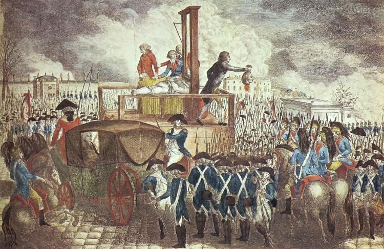 """""""Executie van Lodewijk XVI."""" Duitse gravure uit 1793 door Georg Heinrich Sieveking. Bron: Wikimedia"""