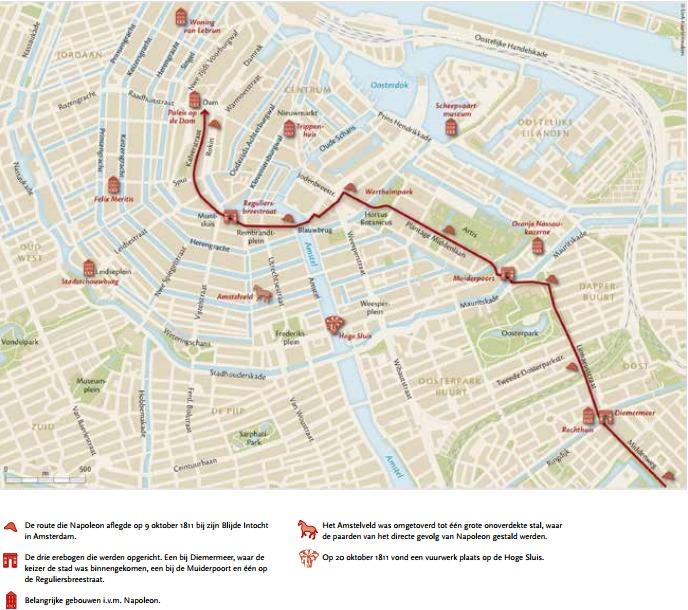 De route die Napoleon aflegde tijdens zijn Blije Intocht in Amsterdam op 9 oktober 1811. Kaart: UvAKaartenmakers